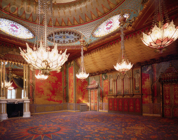 ca. 1980-1992, Brighton, East Sussex, England, UK --- Music Room in Royal Pavilion --- Image by © Massimo Listri/CORBIS